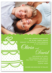 Green White Photos Personalized Wedding Invitation