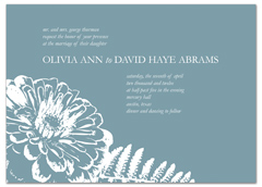 Teal Blue Floral Pattern Wedding Announcement Samples